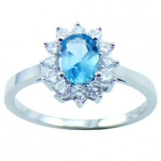 18K White Gold Plated Oval Topaz CZ Ring