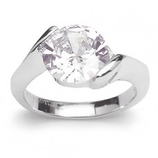 18K White Gold Plated Solitaire CZ Ring