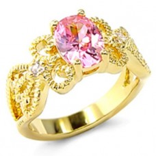 18k Yellow Gold Plated Filagree Ring 1.1ct Pink CZ