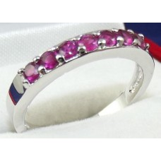 Rhodium Plated Garnet colour CZ Ring