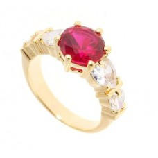 18K Gold Plated 4 Created Diamonds Ruby Ring