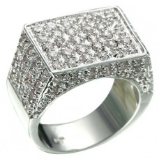 Rhodium Plated 78 Brilliant Clear CZ Ring