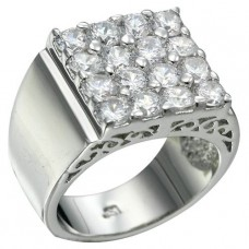 Rhodium Plated 16 Brilliant Clear CZ Ring