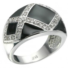 Rhodium Plated 36 Brilliant Clear CZ'S Ring