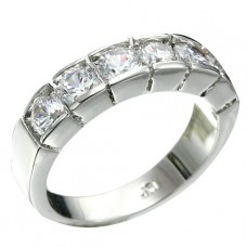 Rhodium Plated 6pcs 4mm Brilliant Clear CZ Ring
