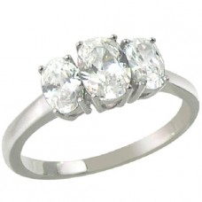 Rhodium Plated Oval Clear CZ Ring