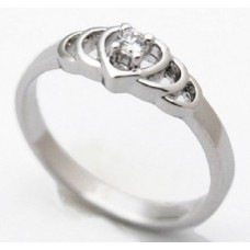 White Gold Plated Created Diamond Hearts Ring