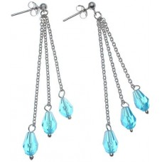 18K White Gold Plated Sterling Silver Blue Crystal Earrings