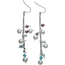 Genuine White Pearl and Crystal Earrings