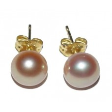 7mm Genuine Pink Pearl Stering Silver With 14K Gold Plated Earrings