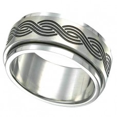 316L Steel Spinner Ring with Interlaced Design