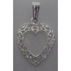 High polished Silver plated Heart Pendant
