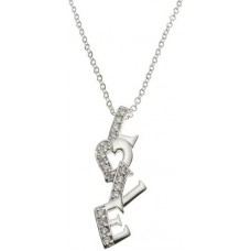 18K Gold Plated Solid Sterling Silver CZ Heart *Love* Talking Necklace