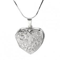 "Sterling Silver Heart 20"" Necklace"