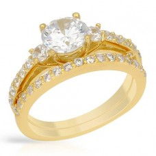 5.80 CTW Cz G-Plated S-Silver Wedding Ring Set