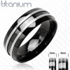Solid Titanium Two Stripes 8mm Black Onyx Ring